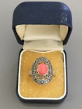 Gorgeous Marked Sterling Silver Marcasite & Pink Coral Sz N 1/2 Ring 4.79gr