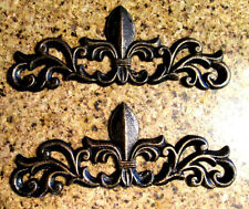 TWO, Small, Cast Iron, Fleur de lis, Toppers, Cabinet hardware, Wall Plaques