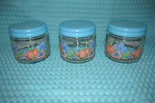 VTG KIG Indonesia Clear Glass w/flowers Dish Bowl/Jars with Lids~RARE SET of 3