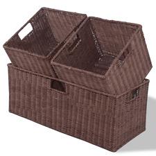 3 pc Rattan Wicker Nesting Rectangular Storage Container Basket Bins Buckets Set
