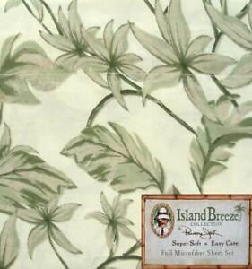 ISLAND BREEZE TROPICS GREEN  FLORAL FULL SHEETS 4PC BEDDING SET NEW