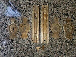 Antique Brass Russell Erwin Pocket Door Mortise Lockset Complete w/ key c.1890s