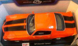 Maisto 1:18 Scale - 1971 Chevrolet Camaro - Orange - Diecast Model Car