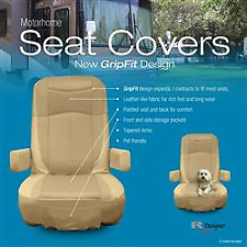 American Motorhome RV Captains Chairs Cream Leather Effect Seat Covers C795