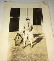 Rare American World War I American Soldier! Pistol Holster Hawaii Snapshot Photo