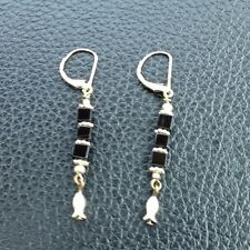 New Earrings Nautical Black Block Bead Dangle Good Luck SilverFish