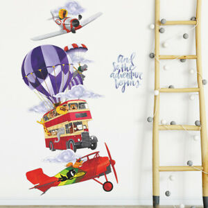 Hot Air Balloon Helicopter Bus Clouds Wall Sticker Baby Nursery Room Decal