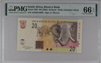 SOUTH AFRICA 20 RANDS ND 2005 P 129 B GEM UNC PMG 66 EPQ