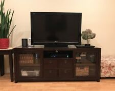 "Pottery Barn  Media Cabinet Armoire TV Console Espresso 65"" wide"
