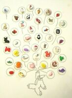 42 Vintage PLASTIC Kids / NOVELTY Animals Dogs OBJECTS + CLOTHING BUTTONS