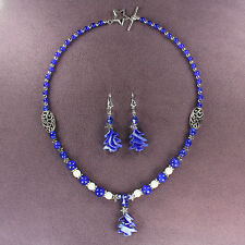ROYAL BLUE SPRUCE NECKLACE EARRINGS SET Forest Woods Fir Pine Tree Silver Stars