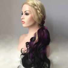 DARK PURPLE OMBRE BLONDE CURLY HAIR frontal lace Women Lace Front wig Wigs