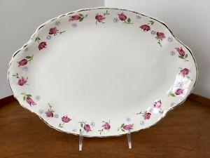 "Vtg Oval Serving Platter Taylor Smith Taylor USA PINK TULIPS Mid-Century 13 1/2"""