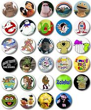 "Kids Retro TV  25mm, 1"" Button Badge,  Rainbow, Scooby, Roland Rat"
