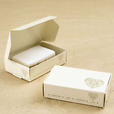 10 CAKE SLICE BOXES Wedding Party Favours IVORY GOLD HEART VINTAGE ROMANCE