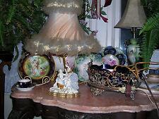antique  romantic couple signed meissen hand painted  porcelain lamp