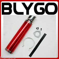 RED Alloy Exhaust Muffler + Clamp 200cc 250cc 300cc PIT Quad Dirt Bike ATV Buggy