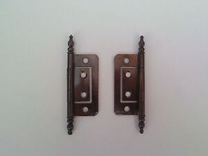 """ANTIQUE Bronze Flush Hinges for Cabinet Doors 2""""- (50mm) 2pk, 4pk, 8pk, or 12pk"""