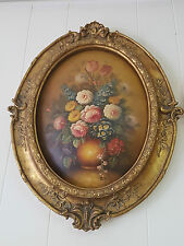 OIL PAINTING ON WOOD IN BEAUTIFUL FRAME - FLOWERS