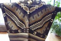 """Mexican Blanket Hand Made 100% Wool Vintage Southwest American  4' x 6'9"""""""