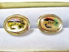 GOLD TONE FISHING LURE FLY UNDER LUCITE VINTAGE CUFFLINKS MIDCENTURY FISH HOBBY