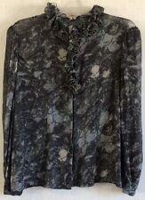 La Mendola 60s Vintage Pure Silk Blouse Marbled Gray Chiffon Ruffle Italy 50