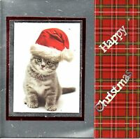 Cat Christmas Cards - Handmade - Cute Tabby & Black Cats, with Santa hats