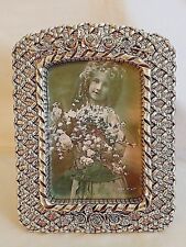 """Silvertone Art Picture Frame with Roses & Latticework Pattern 5"""" x 7"""", New"""