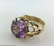 Modernist Synthetic Amethyst 14K Gold Cocktail Ring ~ Otto Bade ORB Brutalist