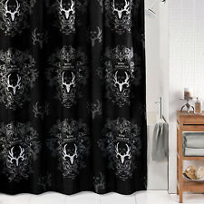 "Bone Collector Fabric Shower Curtain Black Gray 72"" x 72"" Antlers Deer Skull"