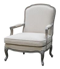French Provincial Louis XV Upholstered Arm Chair in Wash White