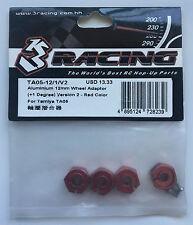 3Racing #TA05-12/1/V2 Aluminium 12mm Roue Adaptateur + 1 Degrés Rouge