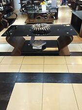STUNNING DESIGNER Coffee Table With Black Safety Glass Wooden Veneer Range