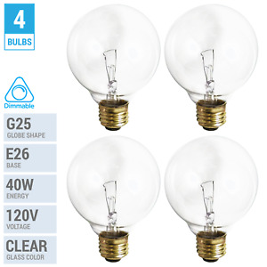 4 Pack 40G25/CL Incandescent Globe Bulbs 120V 40W G25 Medium E26 Dimmable Clear