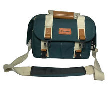 Vtg Canon Camera Bag Green Organizer Pockets Shoulder Strap DSLR 12x7x8 Video