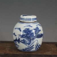 """Old Chinese Blue and white Porcelain qing Dynasty painted landscape Jar pot 3.3"""""""
