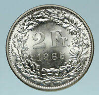1965 SWITZERLAND - SILVER 2 Francs Coin HELVETIA Symbolizes SWISS Nation i83241