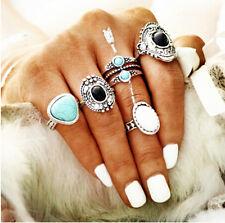 5pcs Retro Antique Women Ring Suit Natural Black Blue Stone Finger Ring Set