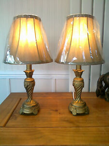 "A PAIR OF 15.75"" HIGH GOLD VINTAGE STYLE BEDSIDE/TABLE LAMPS + 8"" GOLD SHADES"