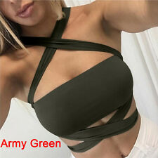 Women Halter Sleeveless Vest Bandage Crop Tops Camisole Tank Shirt Blouse Army Green S