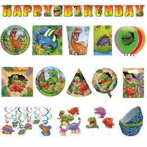 Dinosaur Birthday Party Supplies Plates Napkins Tablecover Banner Balloons