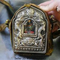"5"" Old Tibet Buddhism Temple Silver Green Tara Goddess Dragon Ghau Shrine Box"