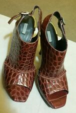 Uterque women's shoes Slingbacks peep toe wine color size 39 made in Spain
