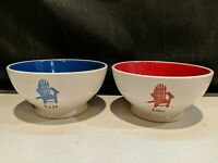 Set Of 2 Rae Dunn Artisan Collection by Magenta Bowl Rest, Relax