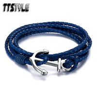 TTstyle Multi Stripe Blue Leather 316L S. Steel Anchors Bracelet Wristband NEW