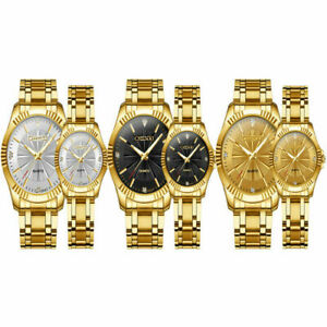 CHENXI Couple Watches Men Women Quartz Wristwatch Luxury Gold Steel Strap Gift