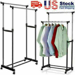 Adjustable Rolling Garment Rack Heavy Duty Clothes Hanger Portable Rail Rack..