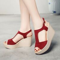 Ladies Wedge Suede Open Toe T-strap Hollow Platform High Heel Shoes Comfortable
