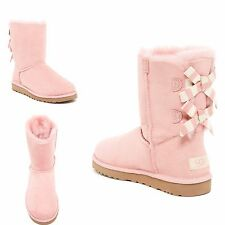 UGGS Ugg Bailey Striped Bow Pink Blush Suede Leather Shearling Boots 8 Booties