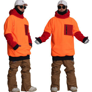 [Free shipping] New December long tall hoodie ski snowboard zipper-Neon Orange